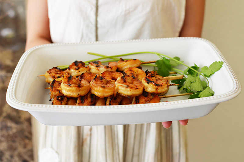 Grilled Shrimp Skewers Presented | Sprig and Flours