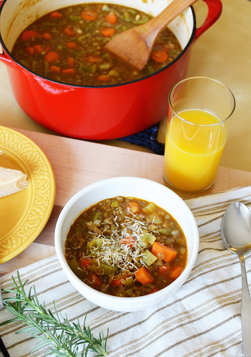Lentil Vegetable Soup | Sprig and Flours
