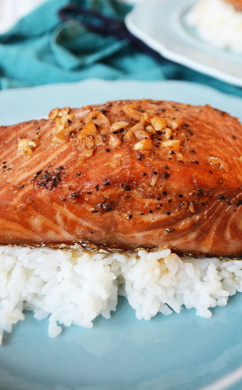 Baked Salmon with a Sweet Soy Sauce Marinade | Sprig and Flours