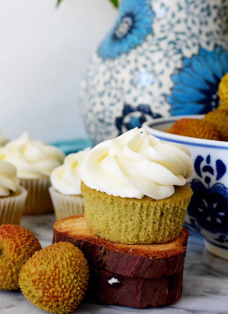 Green Tea Cupcakes with Lychee Frosting Unwrapped | Sprig and Flours