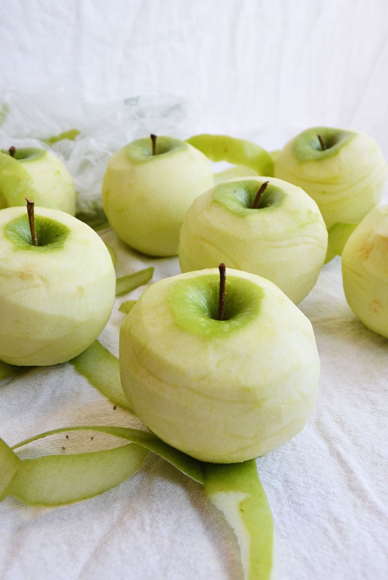Peeled Granny Smith Apples | Sprig and Flours