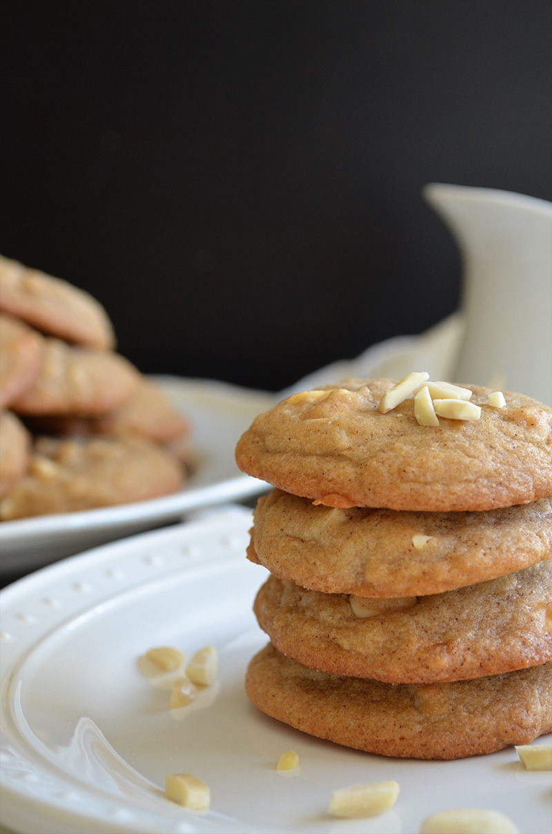 Almond Cinnamon White Chocolate Chip Cookies | Sprig and Flours