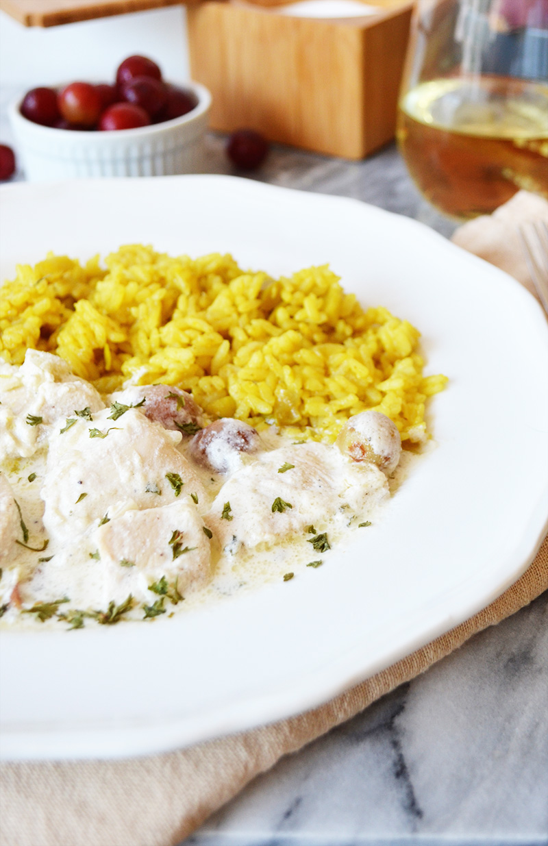 Chicken and Grapes with Curry Rice 7 | Sprig and Flours