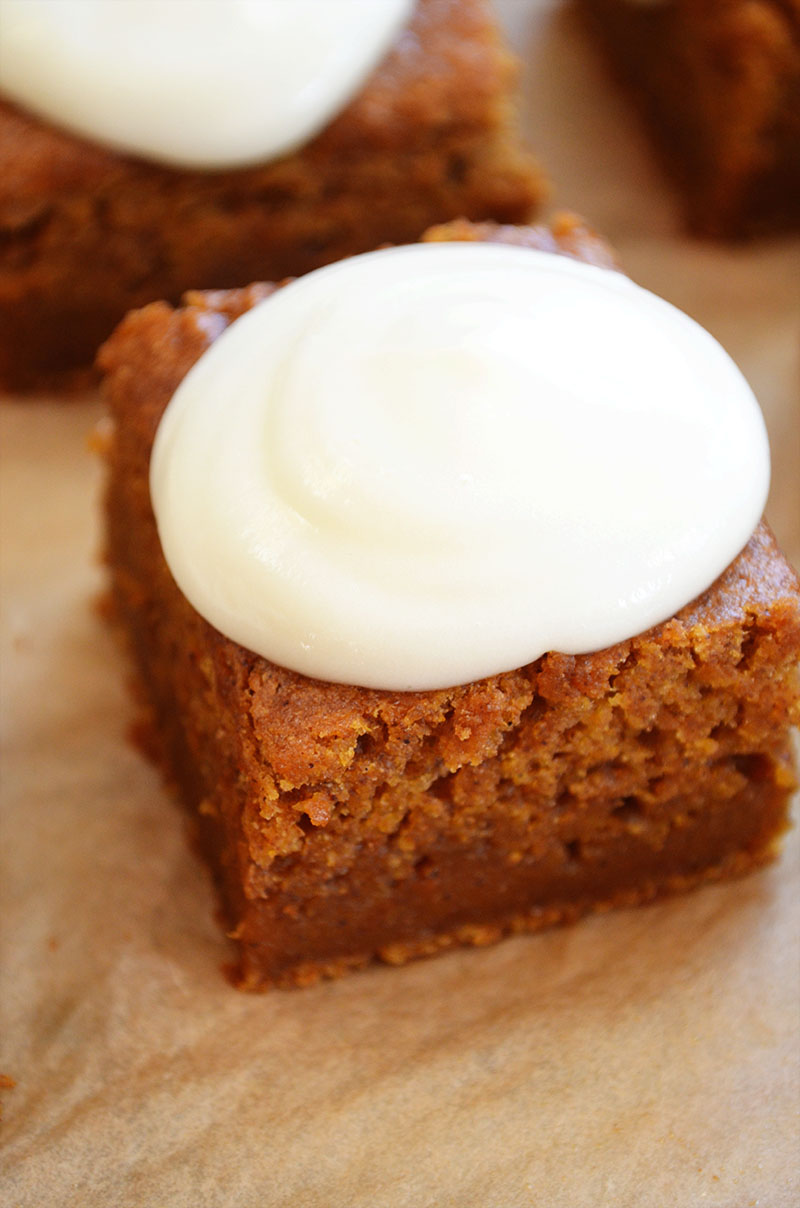 Healthy Pumpkin Bars with a Yogurt Cream Cheese Frosting  | Sprig and Flours