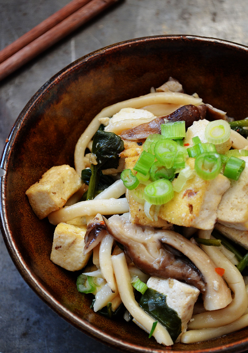 Udon with Shiitake Mushrooms, Spinach, and Fried Tofu | Sprig and Flours
