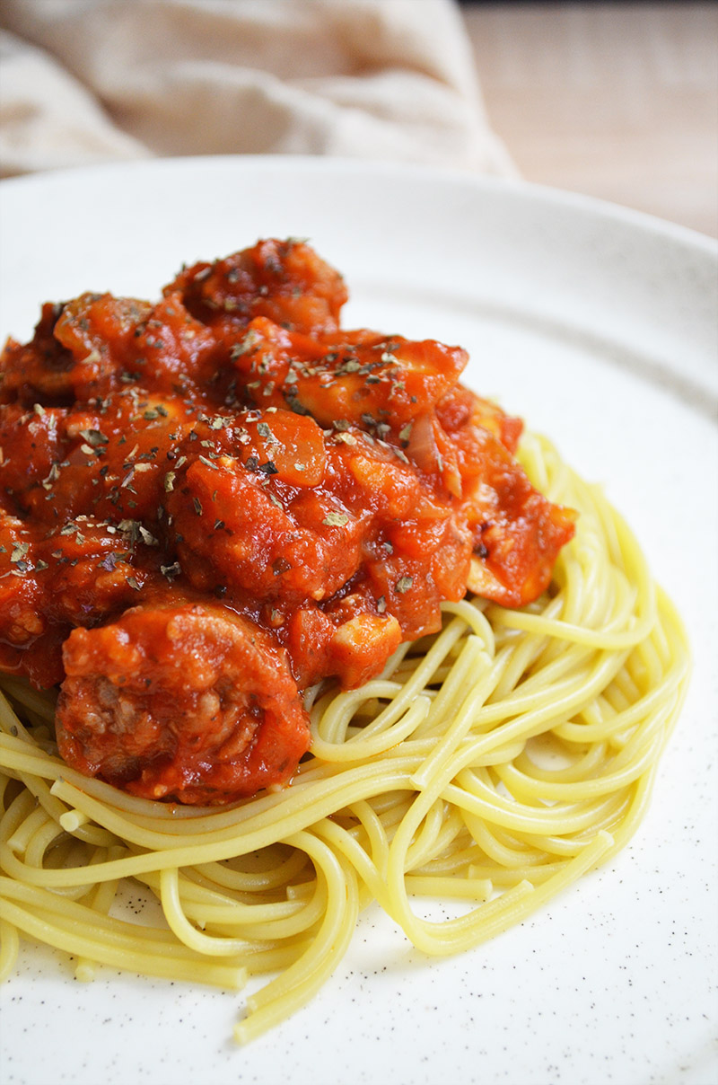 Spaghetti with Italian Sausage and Mushrooms   Sprig and Flours