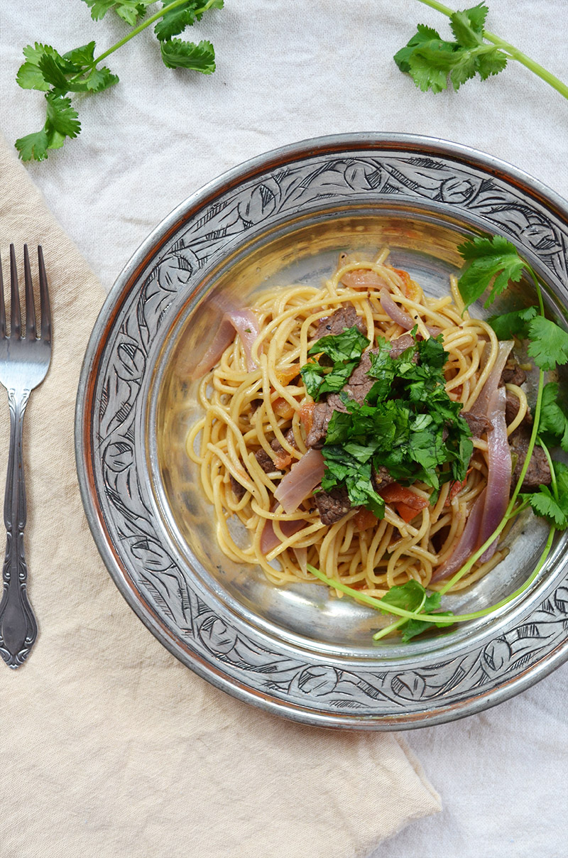 Peruvian Spaghetti with Steak | Sprig and Flours