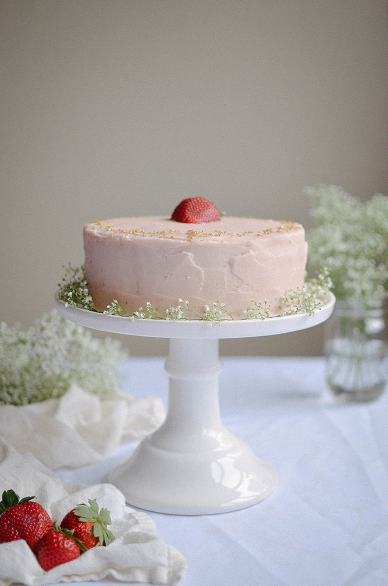 Strawberry Rhubarb Cake | Sprig and Flours24