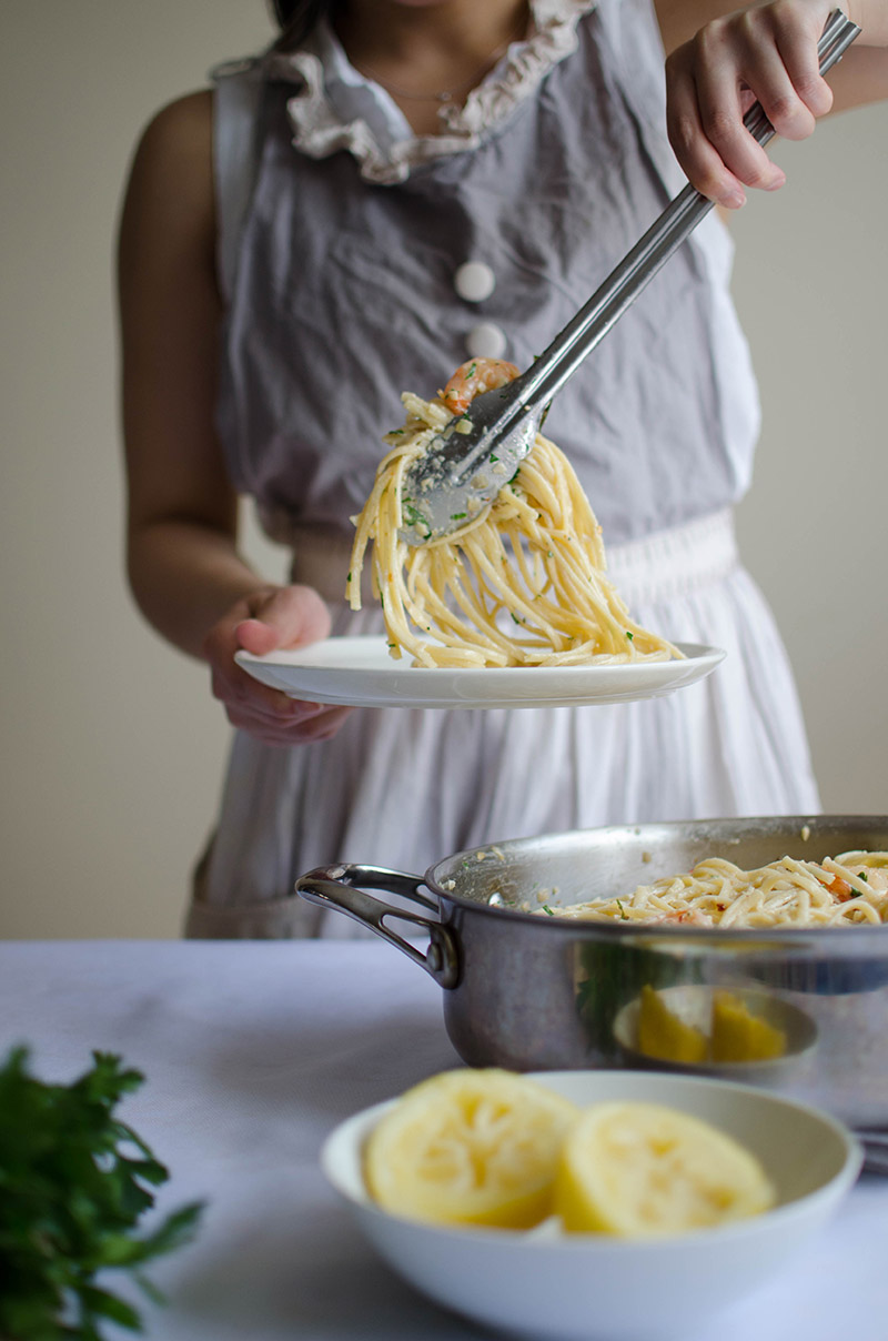 Creamy Shrimp Linguine | Sprig and Flours