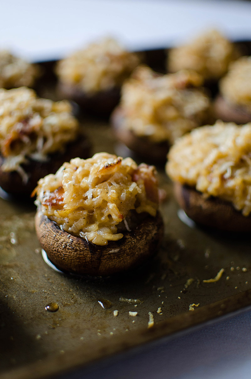 Stuffed Portobellini Mushrooms with Bacon and Leek Risotto | Sprig and Flours