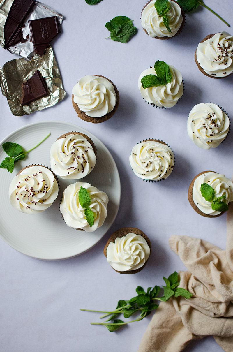 Chocolate Sour Cream Cupcakes with Mint Swiss Buttercream | Sprig and Flours