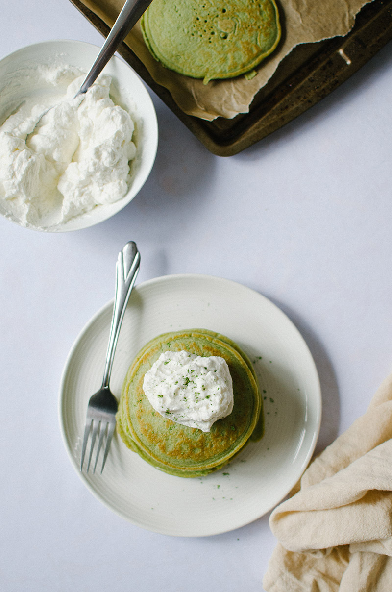 Green Tea Ricotta Pancakes with Honey Whipped Cream | Sprig and Flours