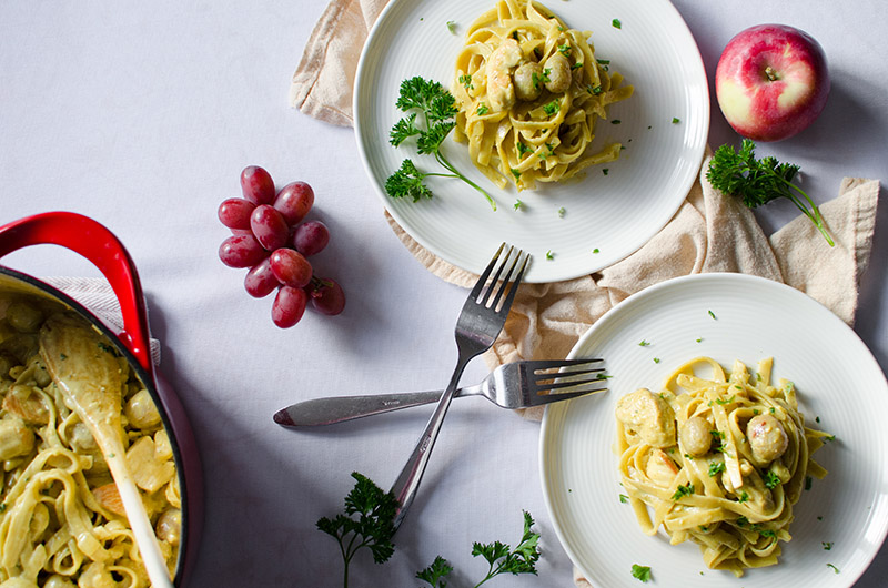 Creamy Curry Chicken and Grapes Fettuccine | Sprig and Flours