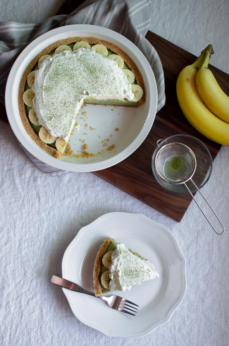 Matcha Banana Cream Pie | Sprig and Flours-12