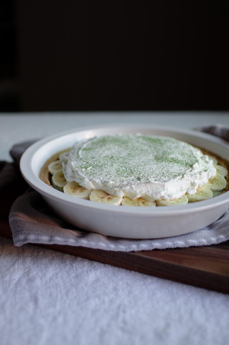 Matcha Banana Cream Pie | Sprig and Flours-6