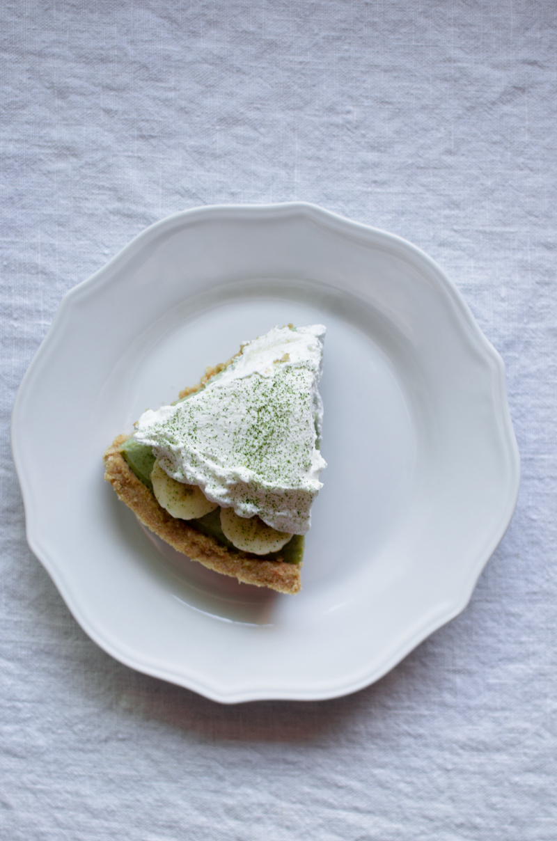 Matcha Banana Cream Pie | Sprig and Flours-8