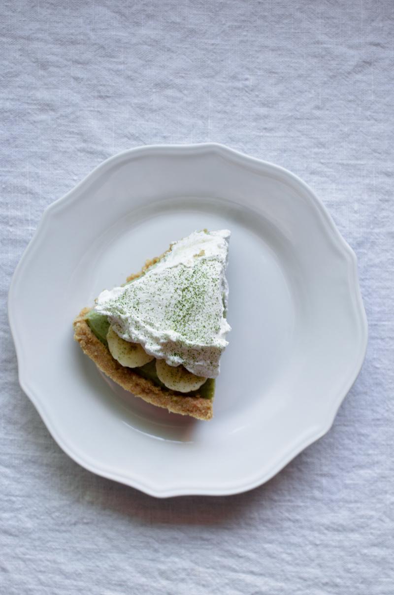 Matcha Banana Cream Pie | Sprig and Flours-8